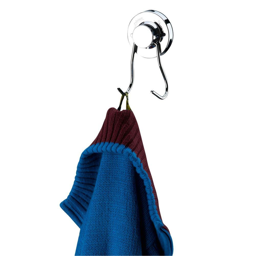 Gancho Cabide Duplo Roupa Toalha Fixação Ventosa - Cromado