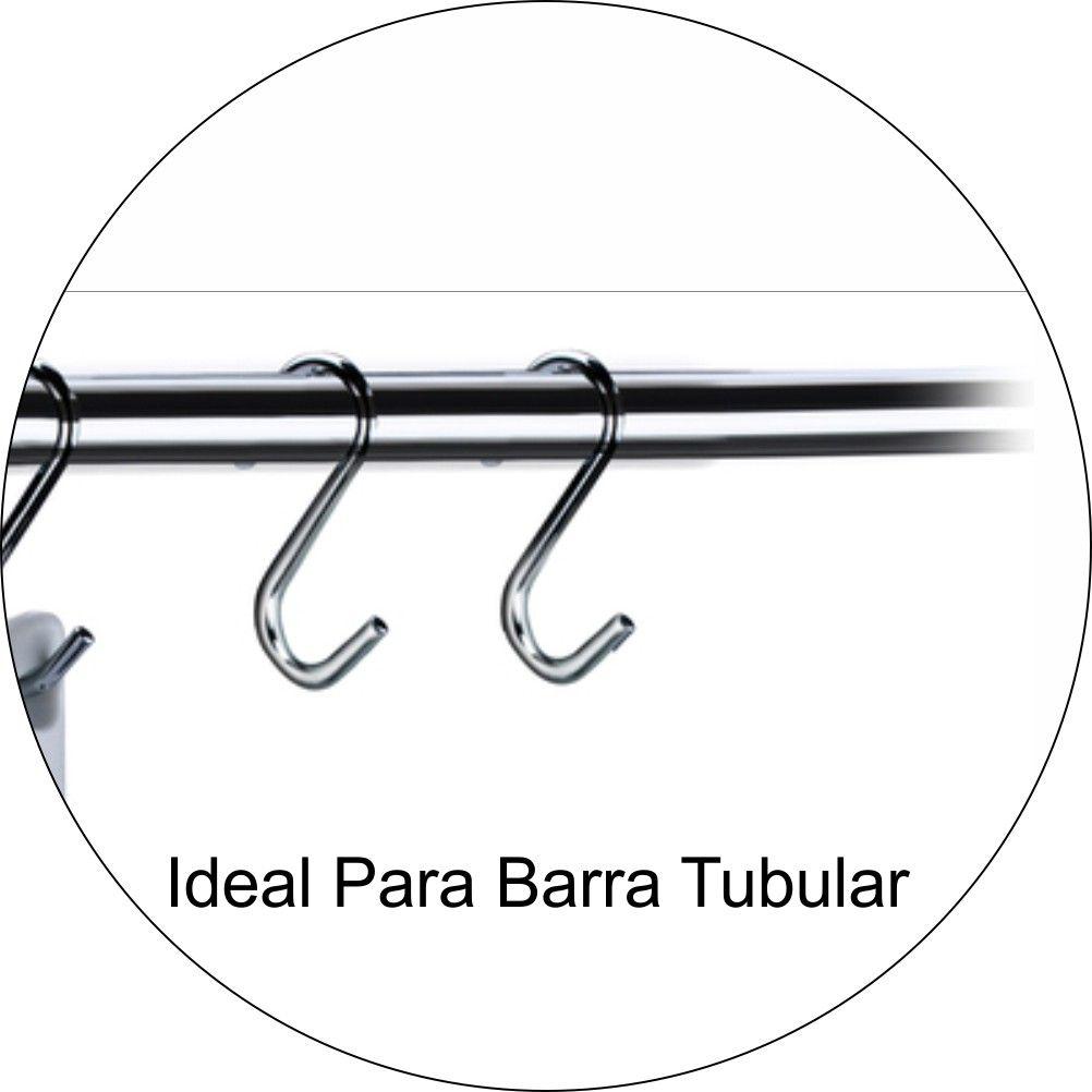 Ganchos Para Barra Tubular De Cozinha Kit Com 6 unidades - Aço Cromado