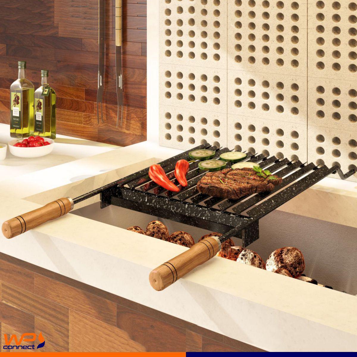 Grelha Argentina Esmaltada 40x35 Com Coletor de Gordura