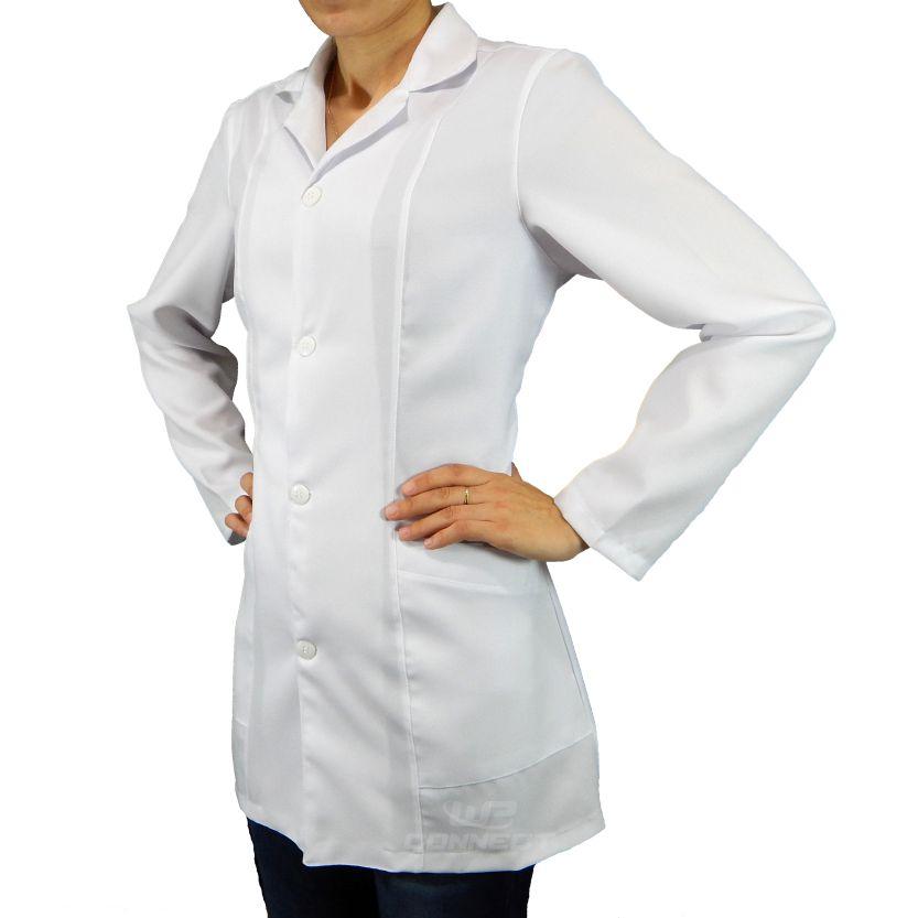 Jaleco Branco Feminino Acinturado Saúde Enfermagem Medicina