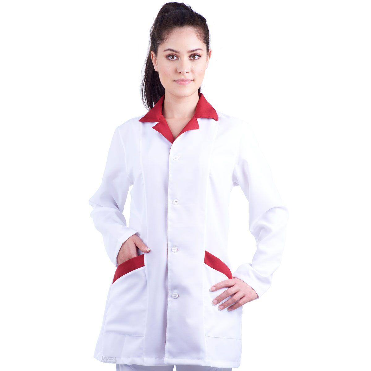 Jaleco Feminino Acinturado Branco/Vermelho