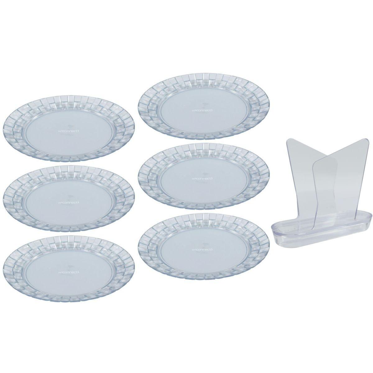 Conjunto de Pratos Rasos 6 Peças Porta Guardanapos Jantar