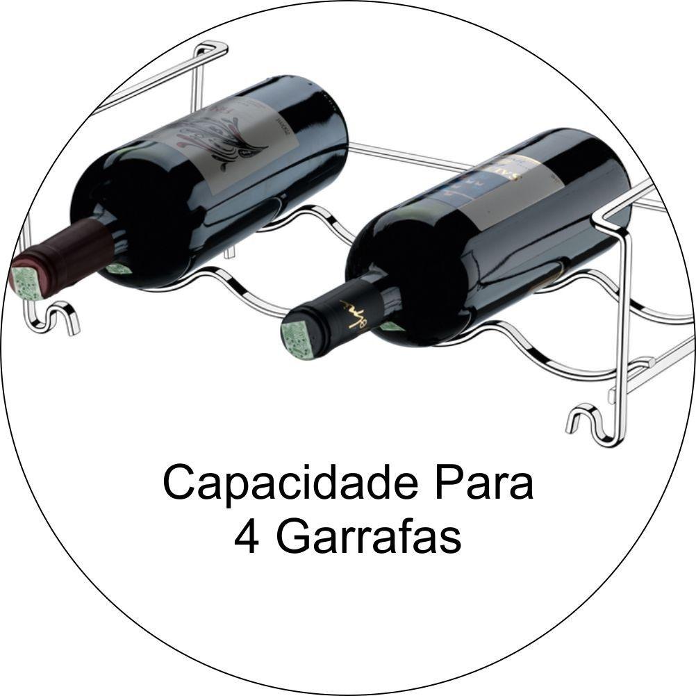 KIt 02 Adegas para 4 Garrafas - Aço Cromado
