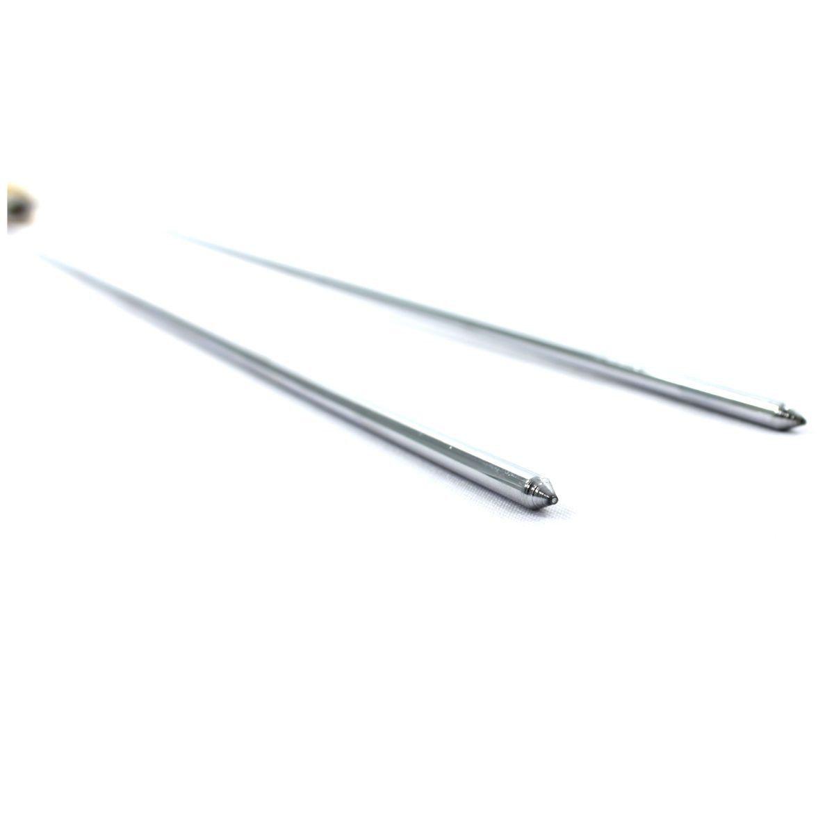 Kit 10 Espetos Duplos Churrasco Aperitivos 85cm - Aço Cromado