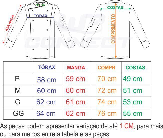 Kit 10 Peças Dolmã Chef Unissex Branco Bandeira Brasil