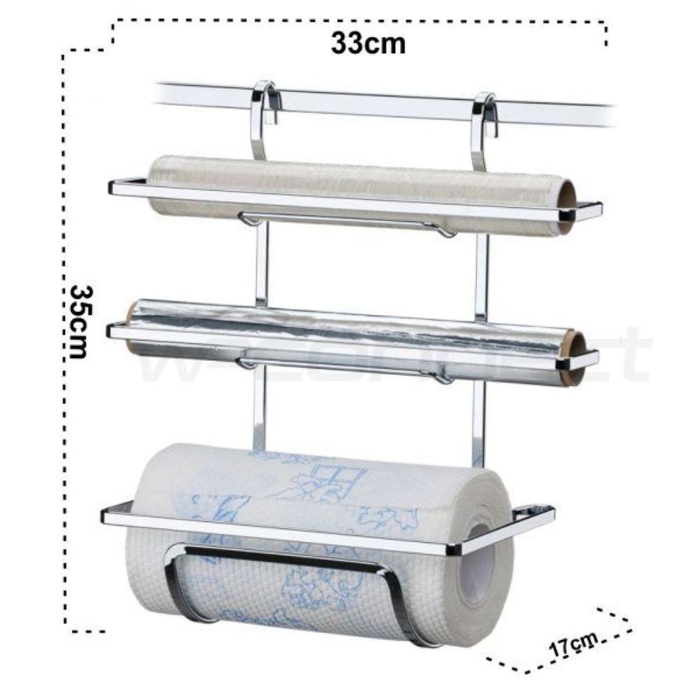 Kit 2 barras 45cm + porta rolos + prateleira dupla - Cromado