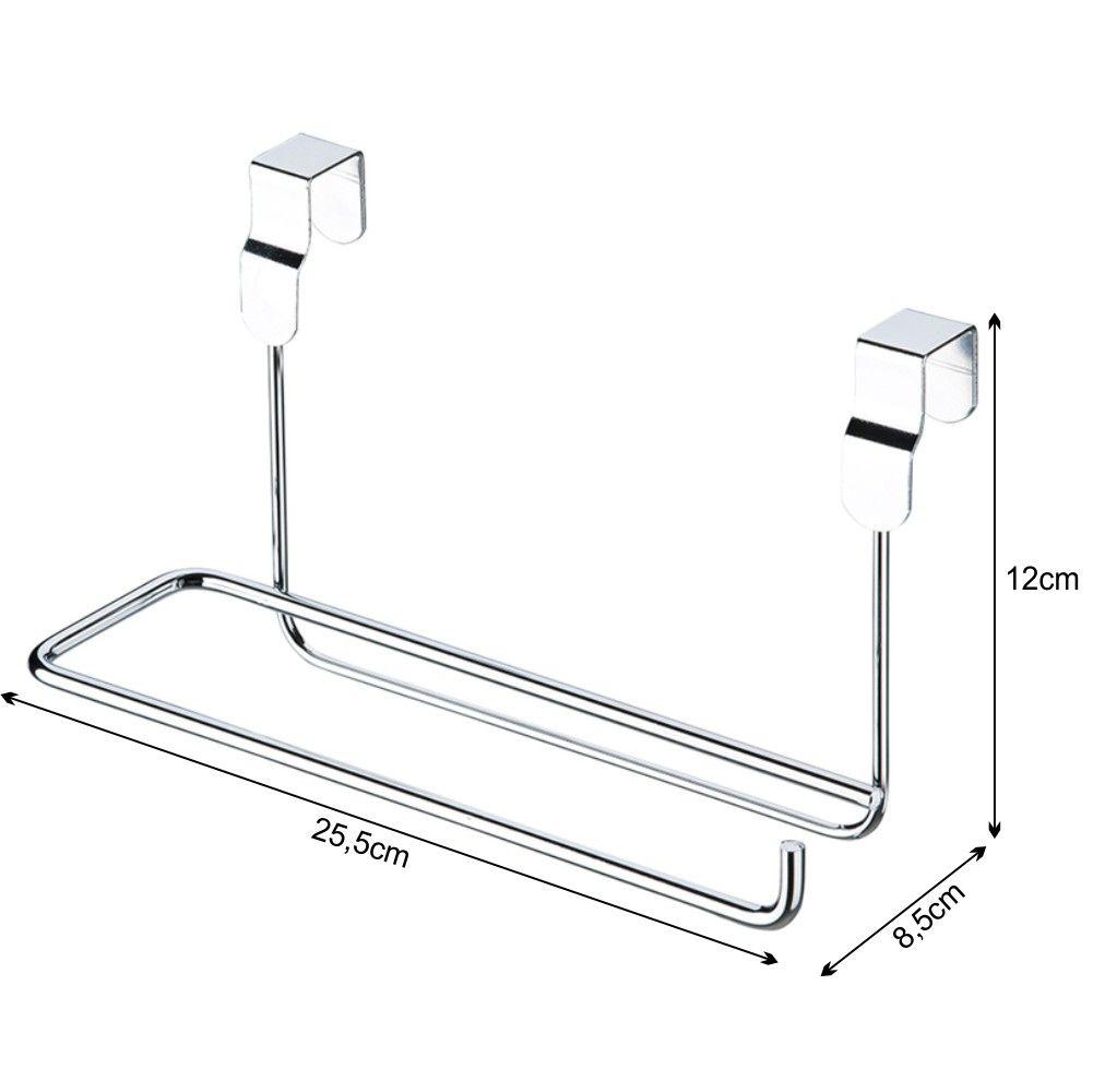 kit 2 dispenser para sacolas + suporte para rolo porta de armário