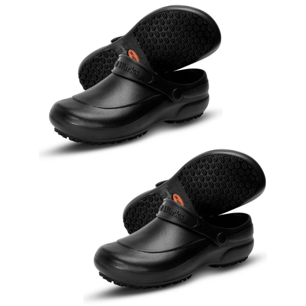 Kit 2 Pares Sapato Sandália Preto Cozinheiro Frete Grátis