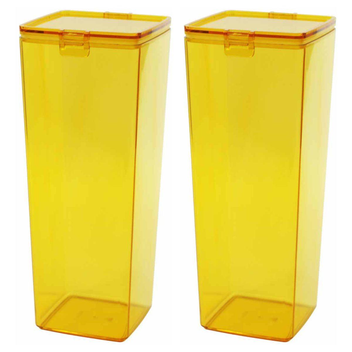 Kit 2 Potes Herméticos 3 Litros Plástico Tampa e Trava Lanches