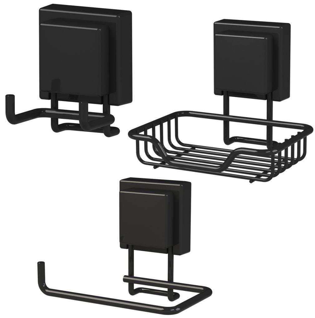 Kit 3 Acessórios Organizadores Para Banheiro Fixados Por Ventosa