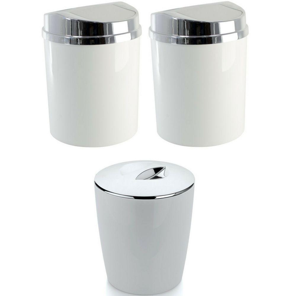 Kit 3 Lixeiras Brancas 5 Litros Cozinha Banheiro