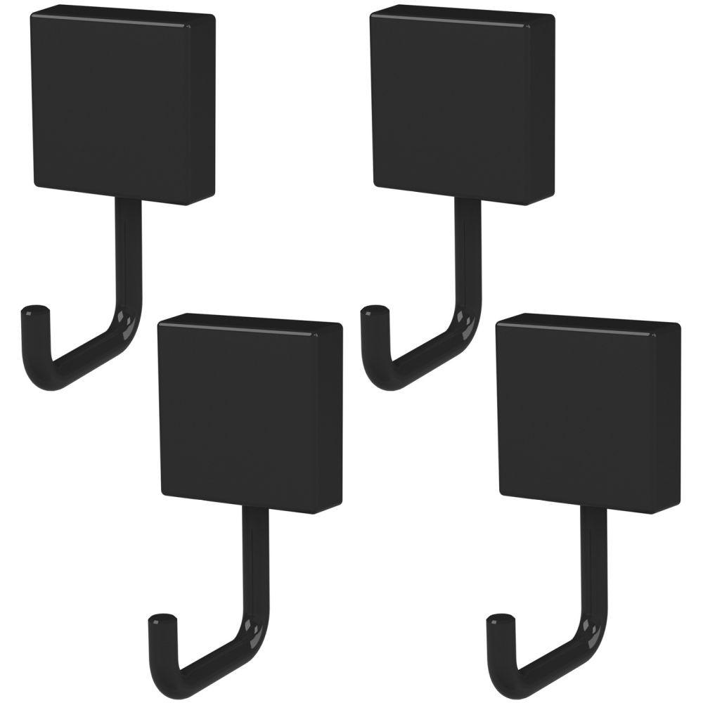 Kit 4 Ganchos Multiuso Fixação Por Parafuso Cor Preta