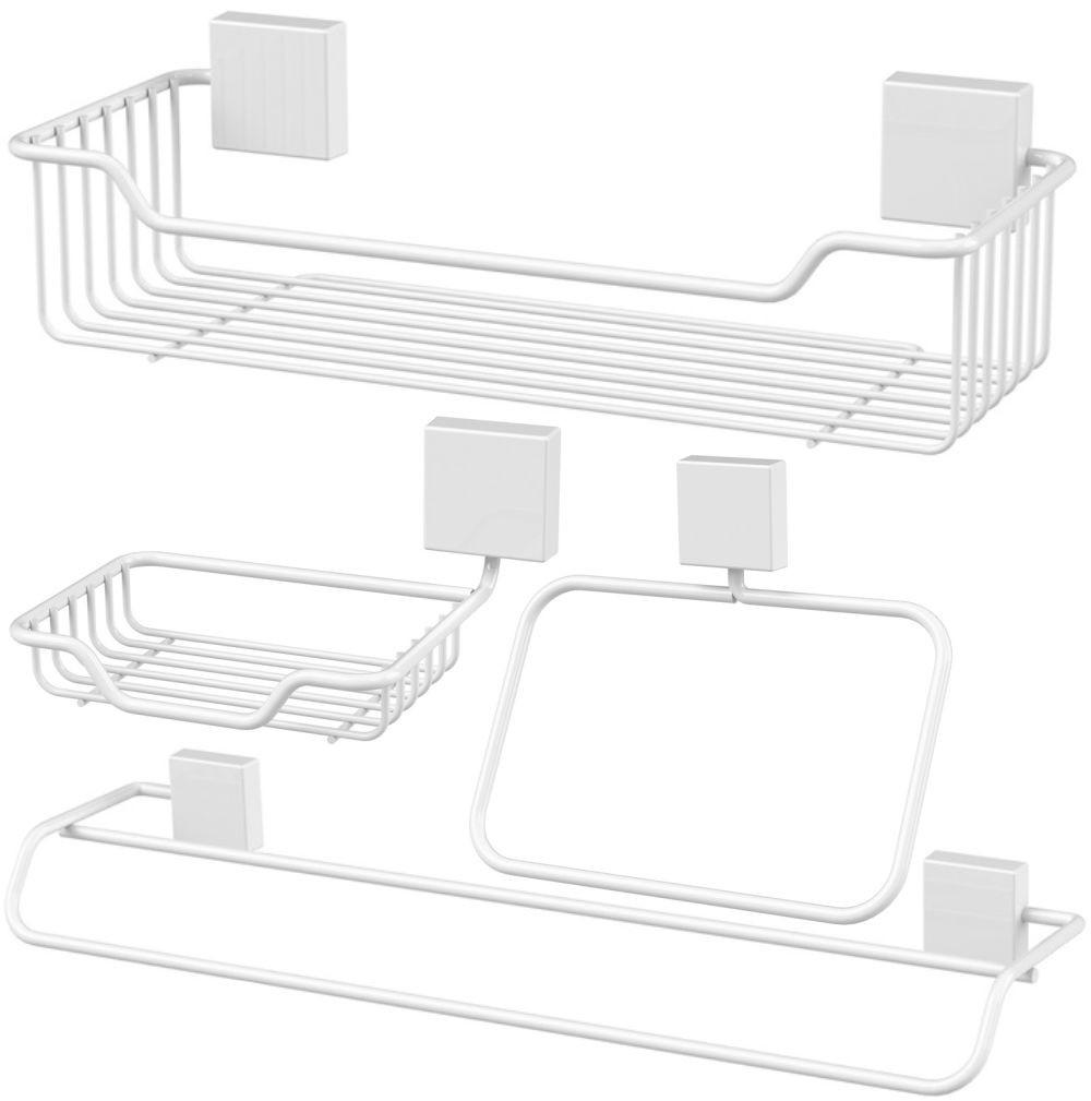 Kit 4 Peças Organizadores de Banheiro Fixação Parafuso Aço