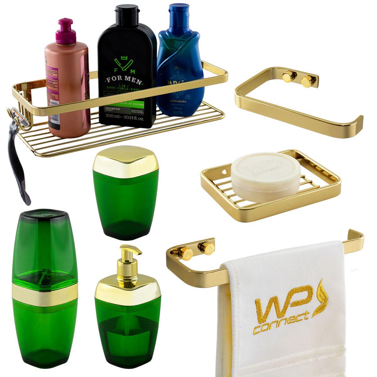 Kit Acessório Banheiro 7 Peças Translúcido Dourado