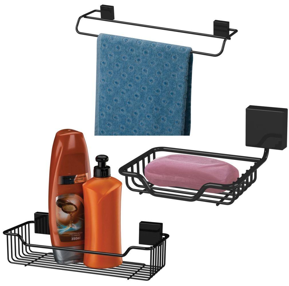 Kit Acessórios Para Banheiro 3 Peças Fixação Parafuso Aço