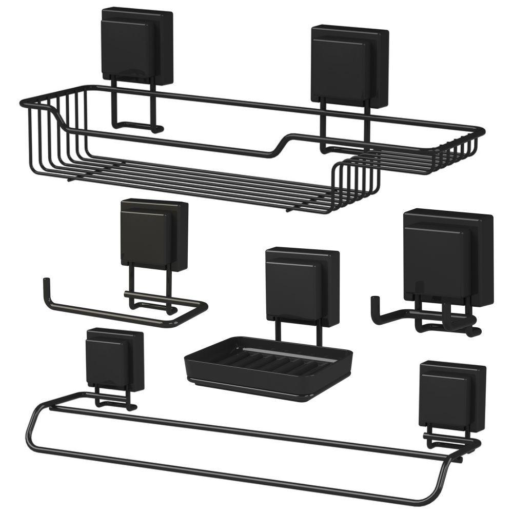 Kit Acessórios Para Banheiro 5 Peças Fixação Por Ventosas