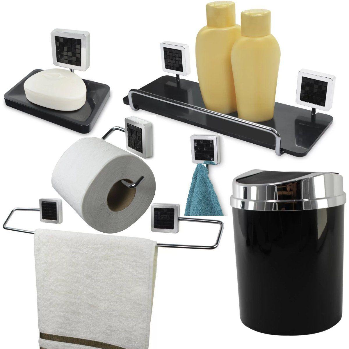 Kit Acessórios Para Banheiro 6 Peças Kit de Banheiro - Preto