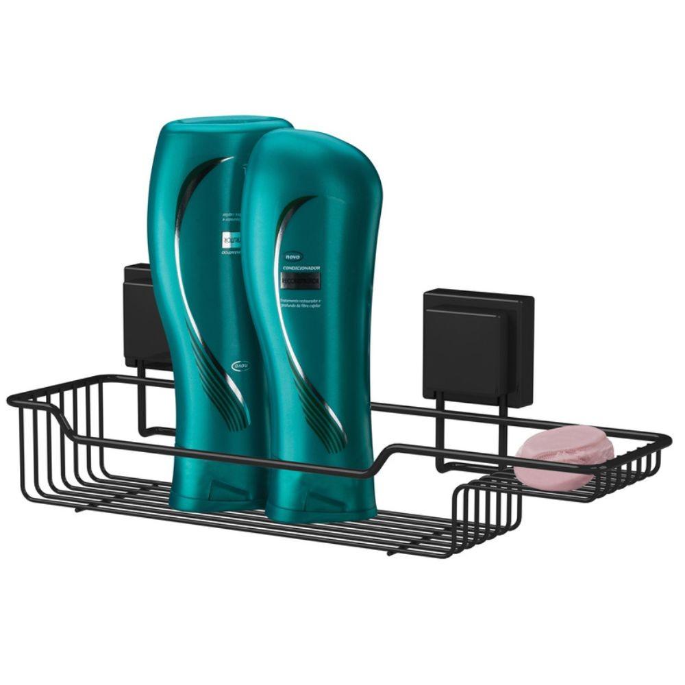 Kit Suportes Organizadores Banheiro 4 Peças Fixação Ventosa Preto