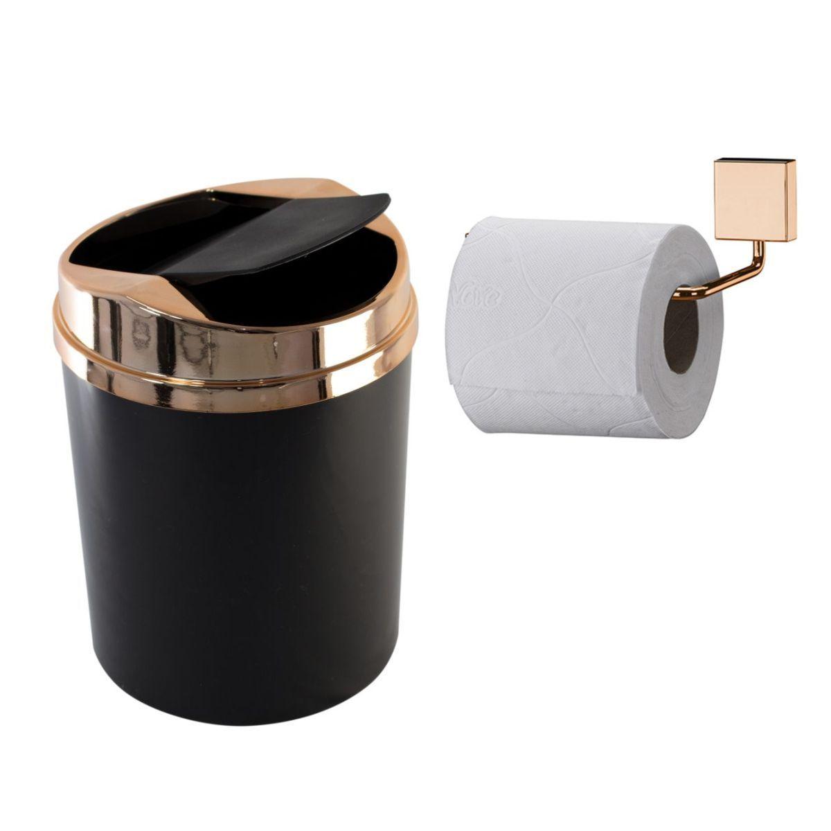 Kit Banheiro Luxo lixeira e Papeleira  Rosé Gold