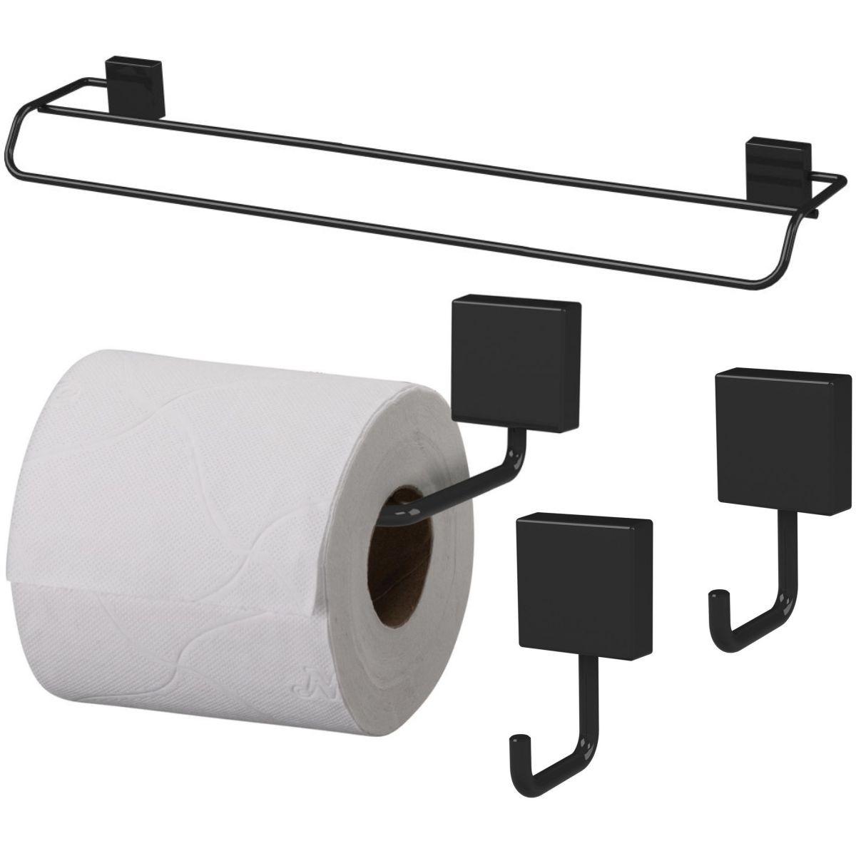 Kit Banheiro Organizadores Toalheiro 60cm Papeleira Gancho