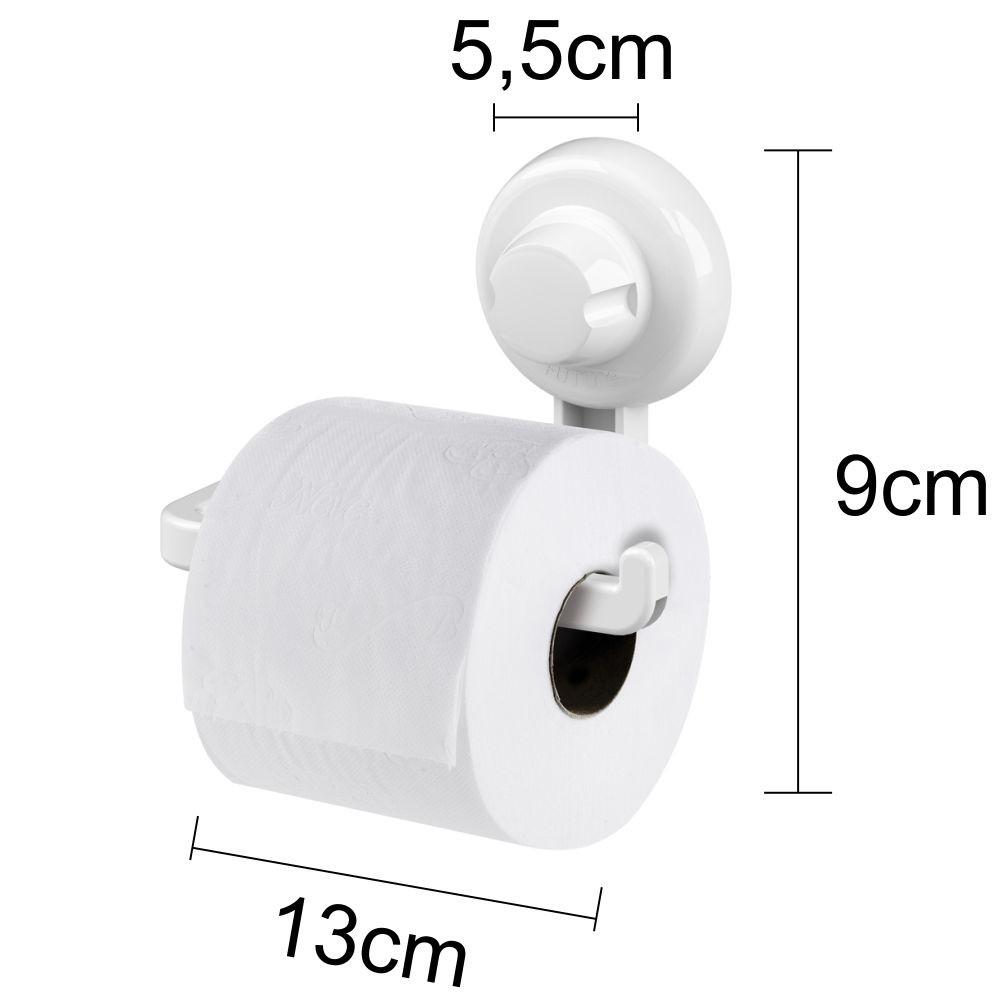 Kit Banheiro Papeleira e Espelho Antiembaçante Fixação Por Ventosa ABS Branco