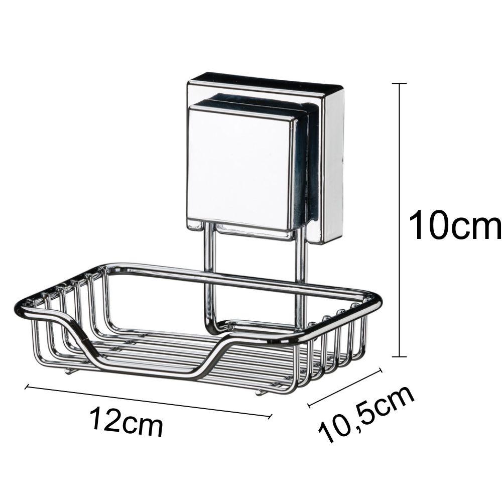 Kit Banheiro Papeleira e Saboneteira Fixação Por Ventosa Inox