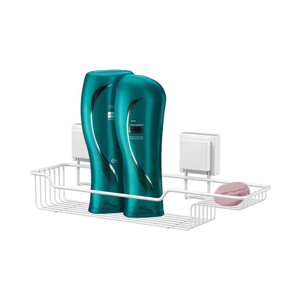 Porta Shampoo Branco Com Espaço Sabonete + Papeleira Aço - Branco