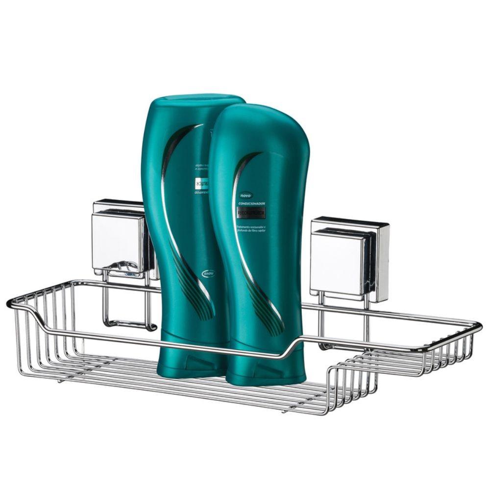 Kit Banheiro Papeleira, Gancho e Suporte Shampoo e Sabonete Fixação Por Ventosa Inox