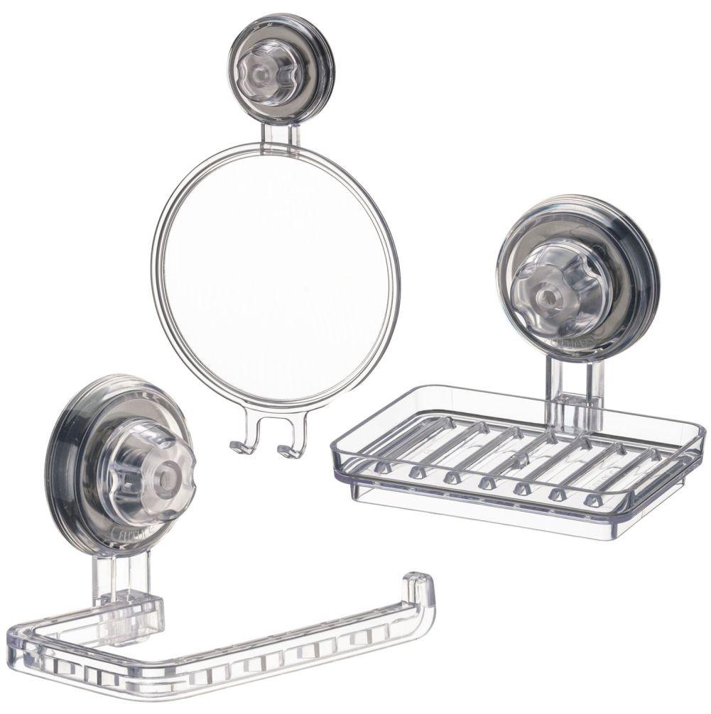 Conjunto Banheiro 3 Peças Com Espelho Antiembaçante Ventosa ABS