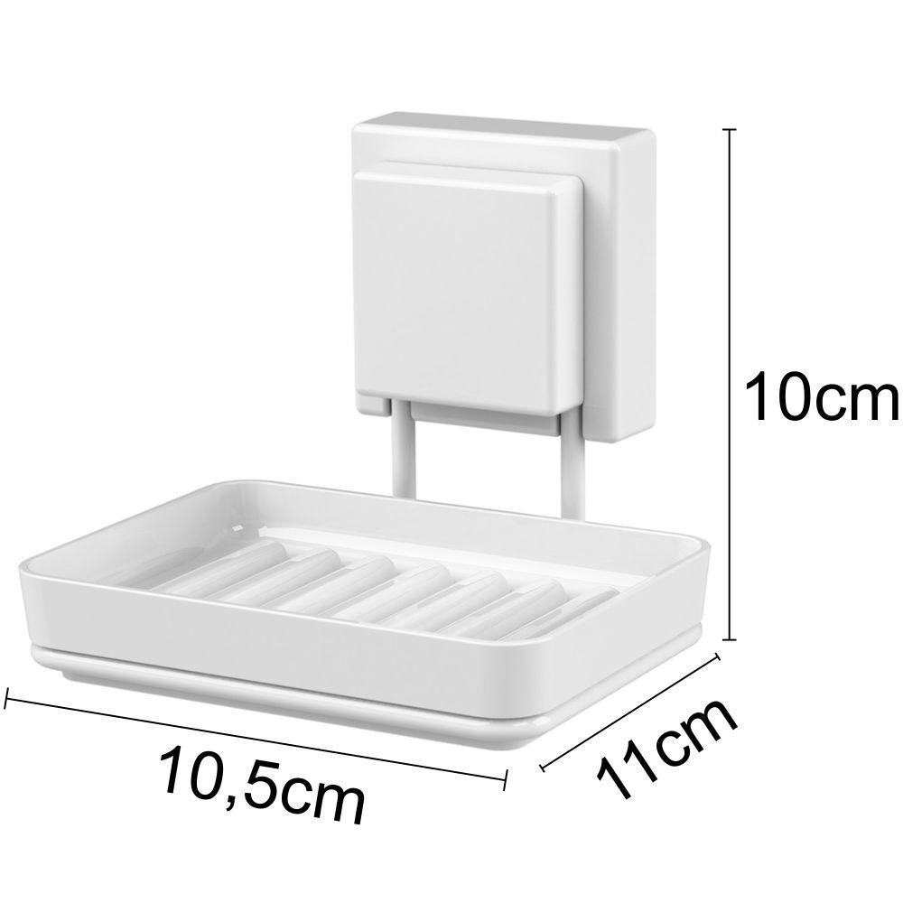 Conjunto Acessórios Banheiro Toalete Branco Fixação Ventosa
