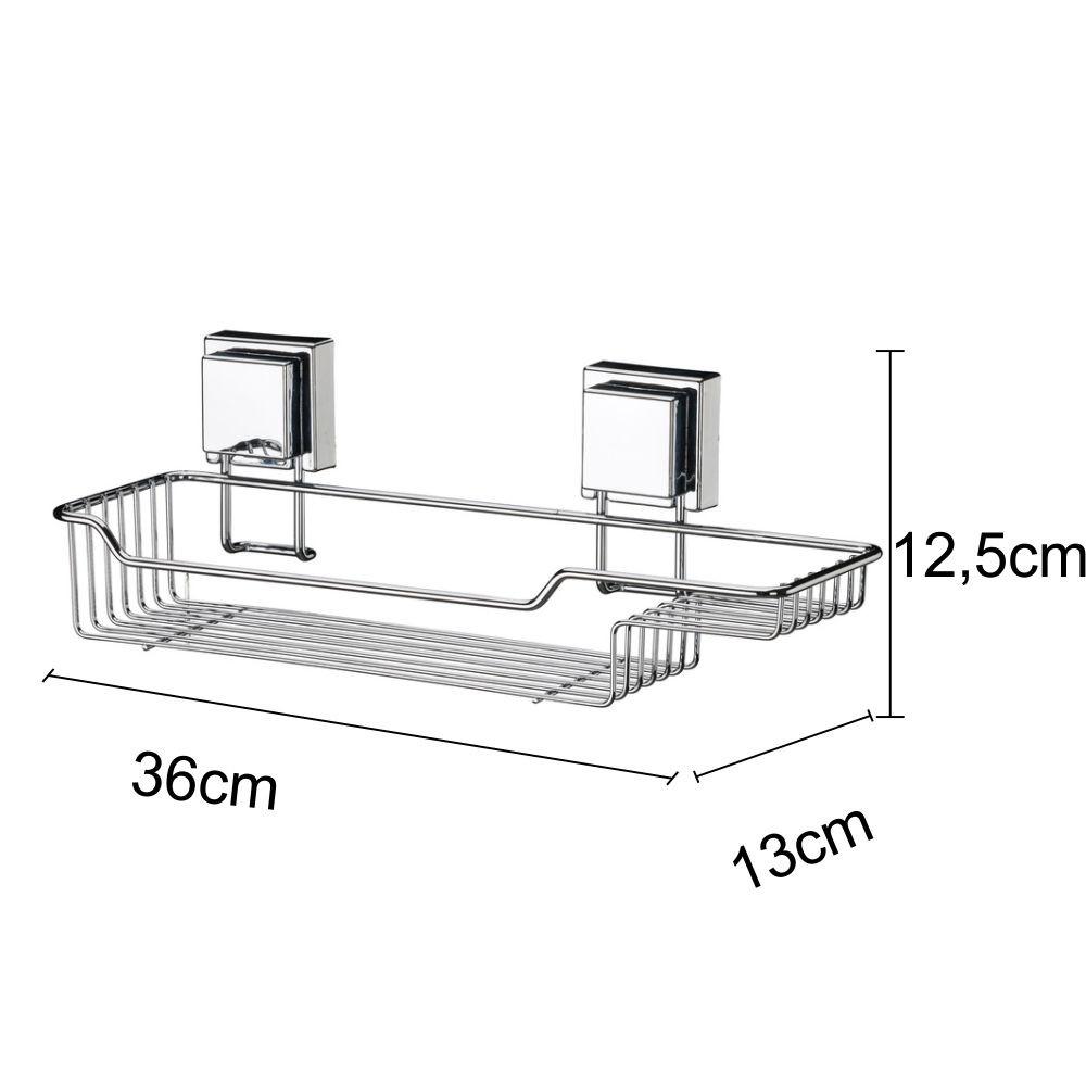 Kit Banheiro Papeleira, Toalheiro e Suporte Para Shampoo e Sabonete Fixação Por Ventosa Inox