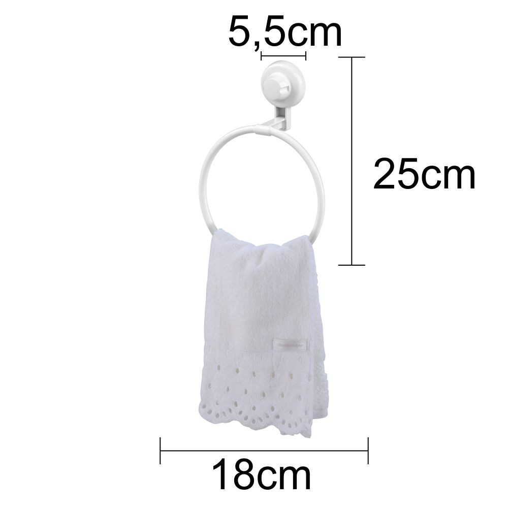 Kit Banheiro Papeleira, Toalheiro, Espelho Antiembaçante e Gancho Cabide Fixação Por Ventosa ABS Branco