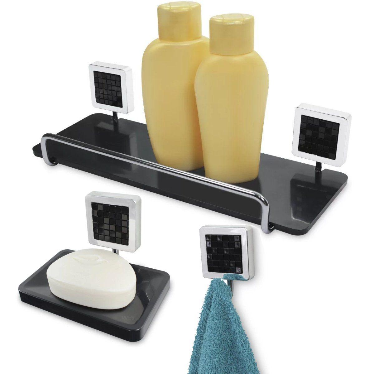 Kit Banheiro Prateleira Para Shampoo Saboneteira Cabide - Preto