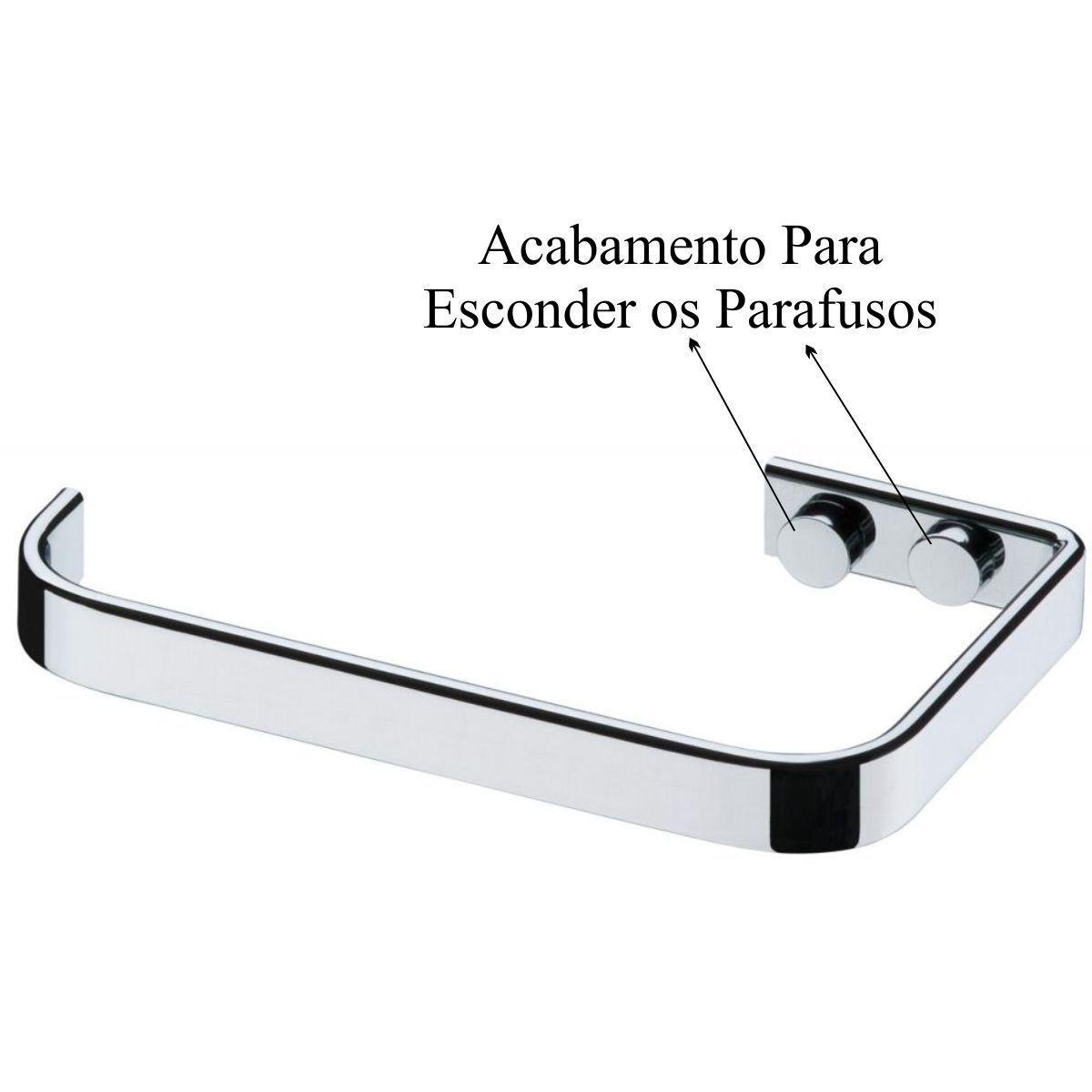 Kit Banheiro Saboneteira de Parede Porta Papel Higiênico - Cromado