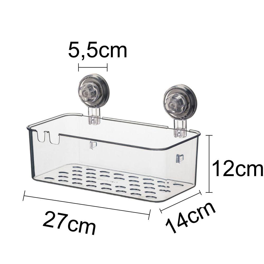 Kit Banheiro Saboneteira, Cesto Retangular Porta Shampoo Ventosa ABS Incolor