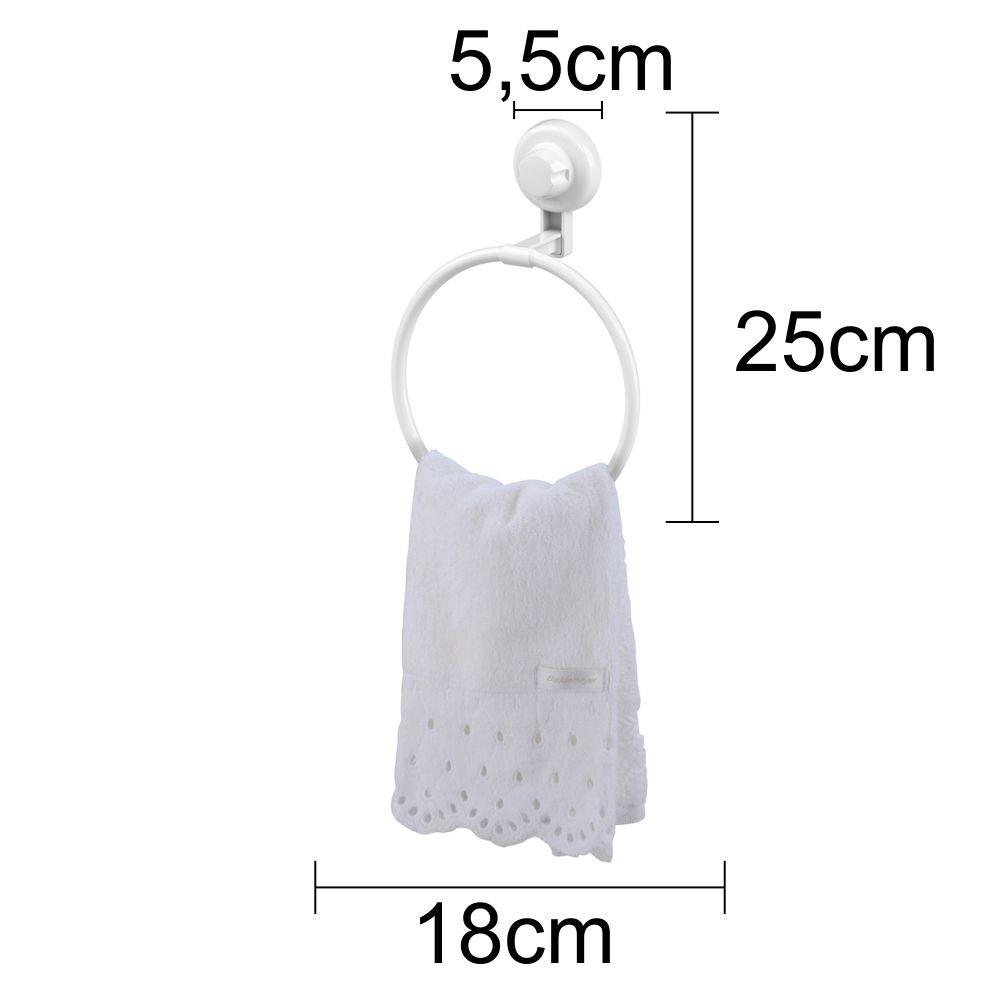 Kit Banheiro Toalheiro e Espelho Antiembaçante Fixação Por Ventosa ABS Branco
