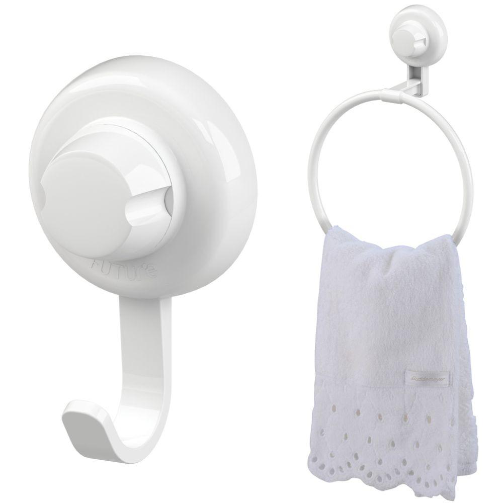 Kit Banheiro Toalheiro + Gancho Cabide Fixação Por Ventosa ABS Branco