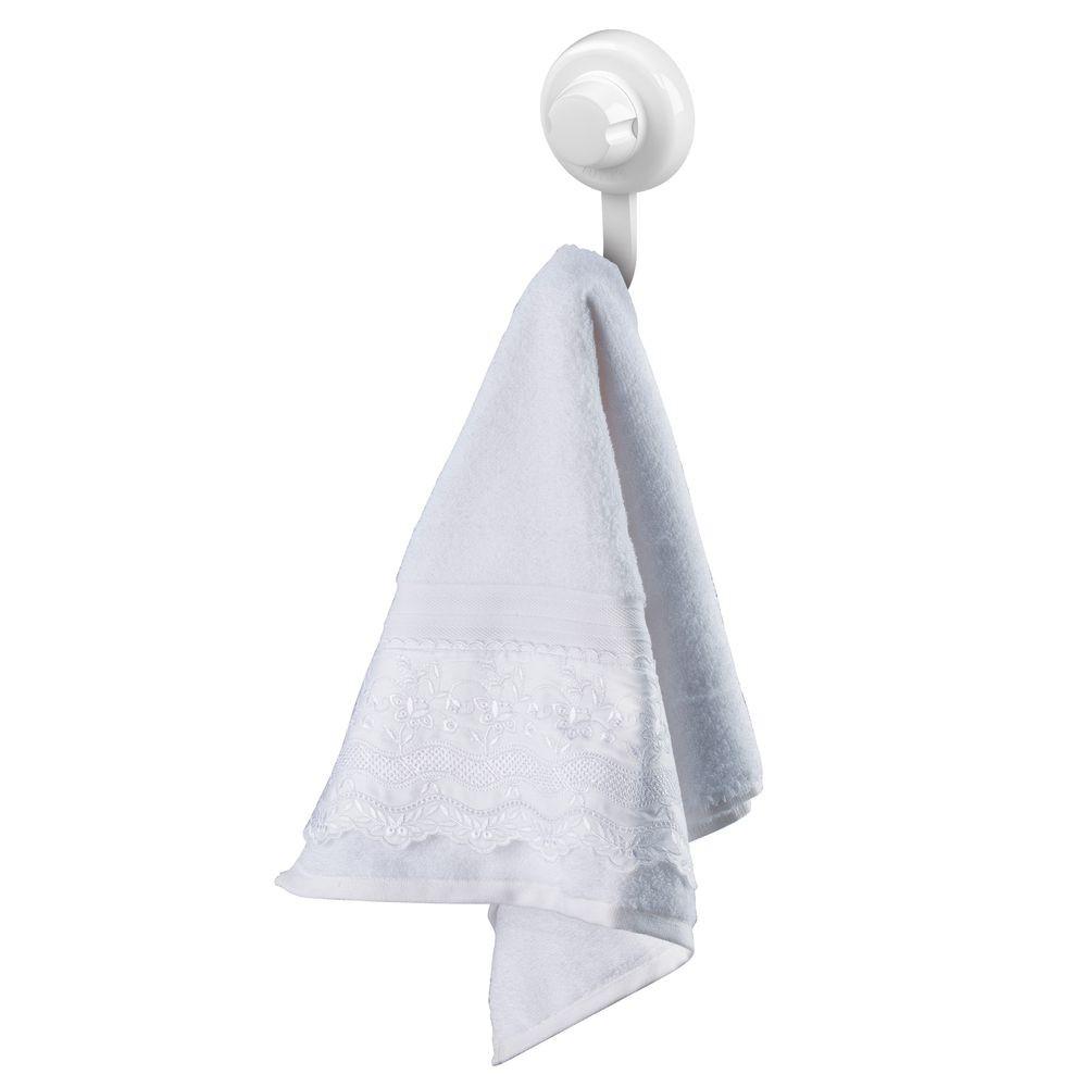 Kit Banheiro Toalheiro, Espelho Antiembaçante e Gancho Cabide Fixação Por Ventosa ABS Branco