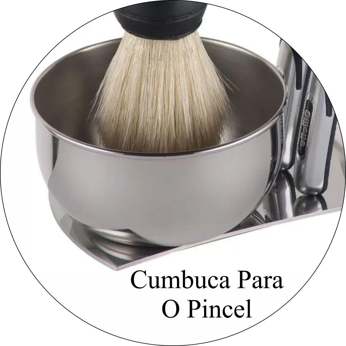 Kit Barbearia Suporte Para Barbeador e Pincel Maleta Minha Barber