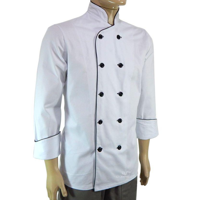 kit Cheff de cozinha Dólmã + avental+ Bandana - Branco