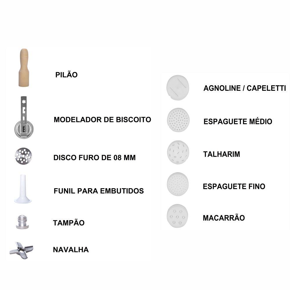 Kit Cilindro 3 em 1 Profissional Extrusor, Laminador e Amassadeira