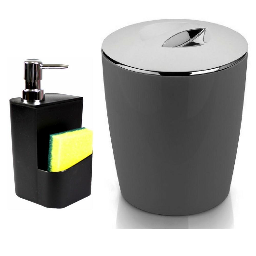 Kit Completo Para Pia de Cozinha Lixeira Porta Detergente