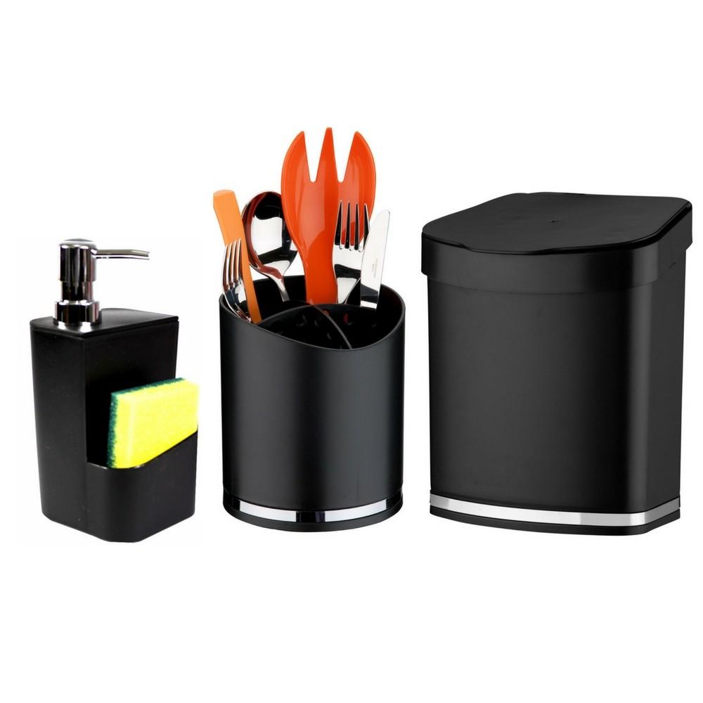 Kit Completo Para Pia de Cozinha Lixeira Porta Detergente e Suporte Talheres