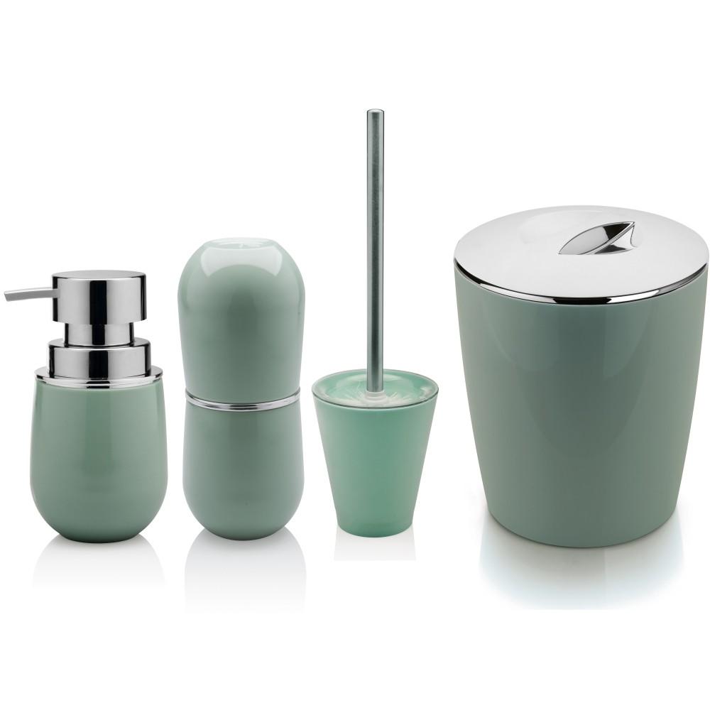 Kit Conjunto 4 Pçs Utensílios Sobre Pia Banheiro Com Lixeira