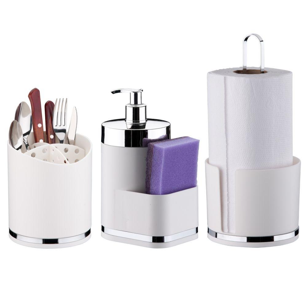 Kit Cozinha 3 Peças Eleganza Escorredor de Talher Dispenser