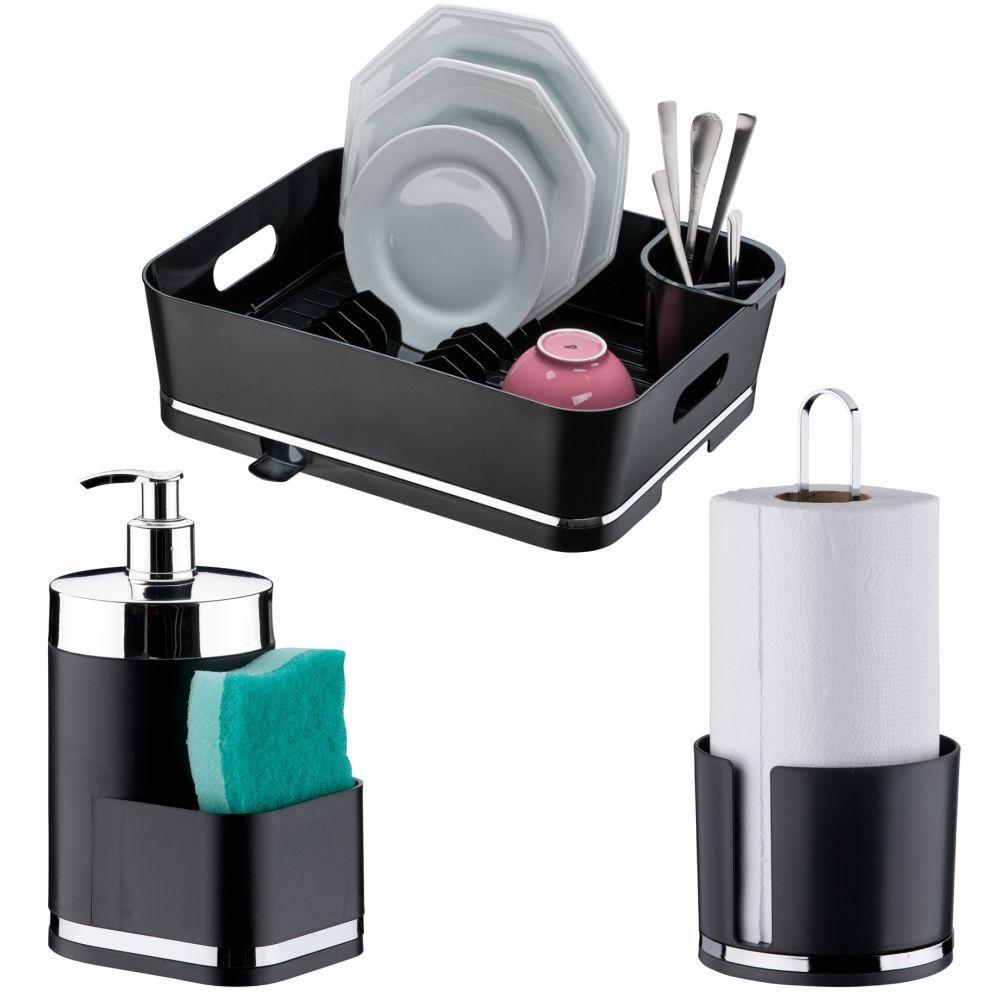 Kit Cozinha Escorredor de Louças Dispenser Detergente Porta Papel Toalha