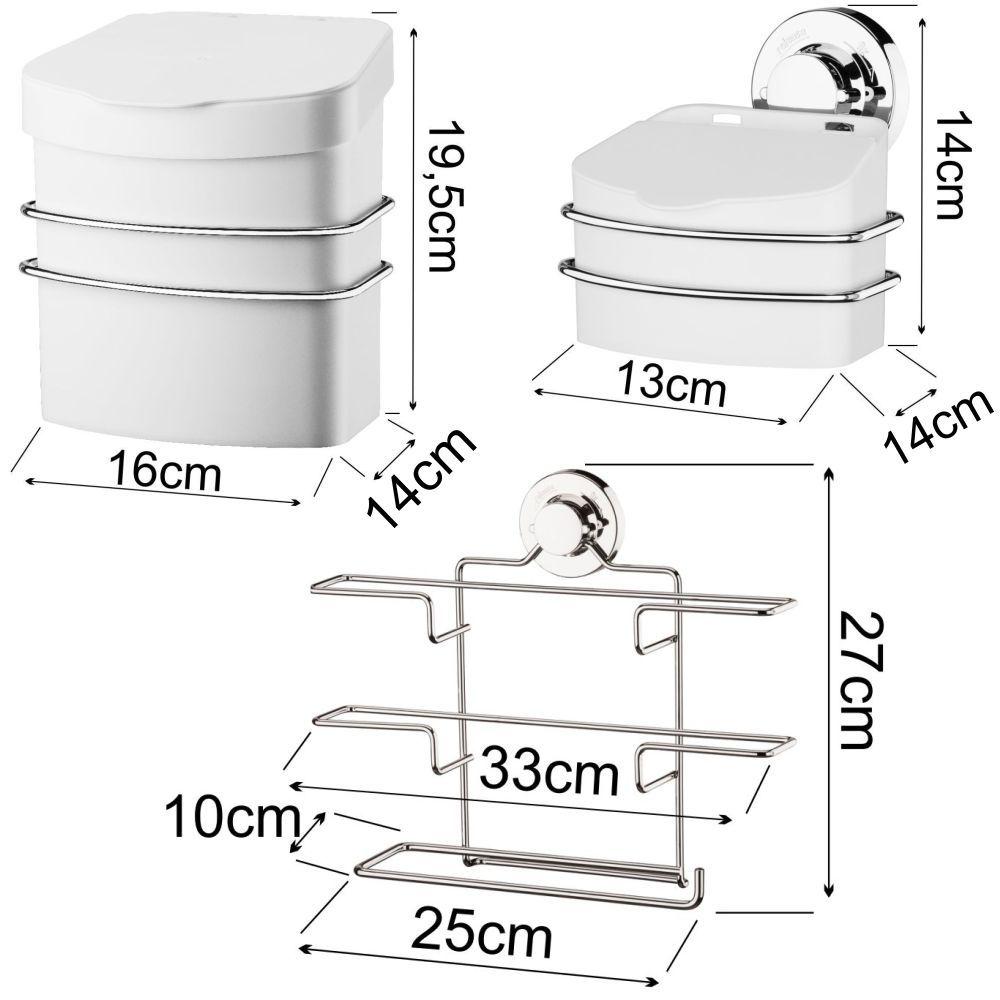 Kit Cozinha Suspensa C/ Porta Rolos Lixeira Fixação Ventosa