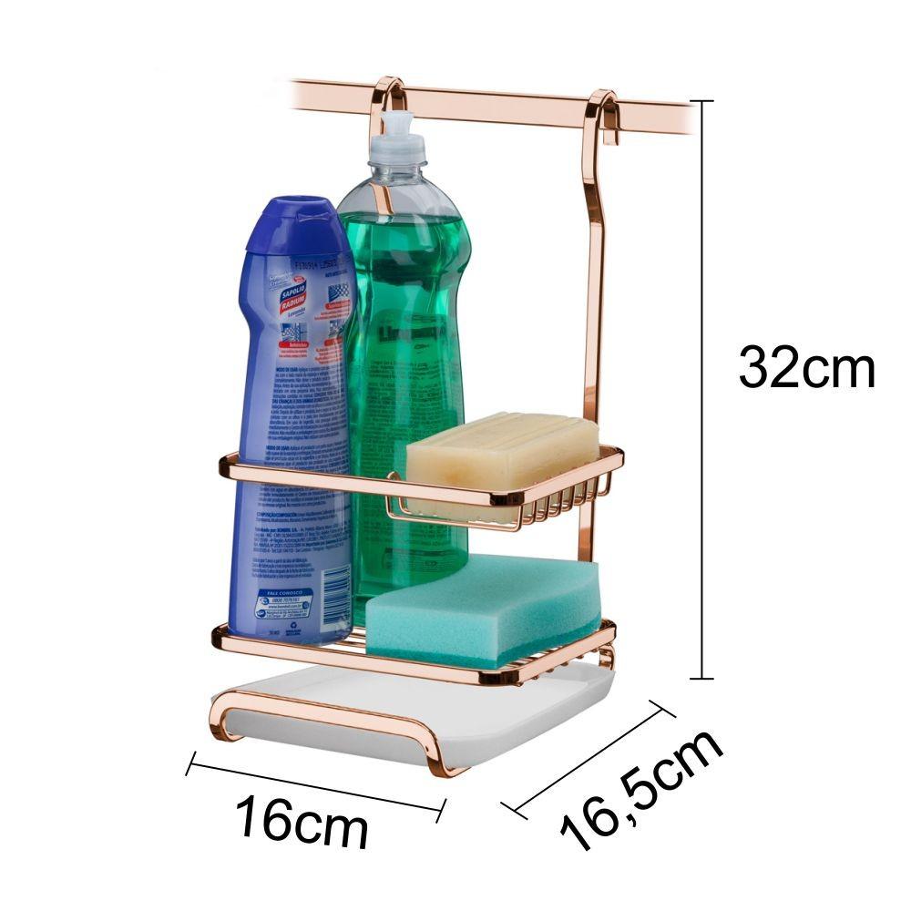 Kit Para Louça Escorredor + Porta Sabão Detergente e Esponja Com 2 Barras Cobre