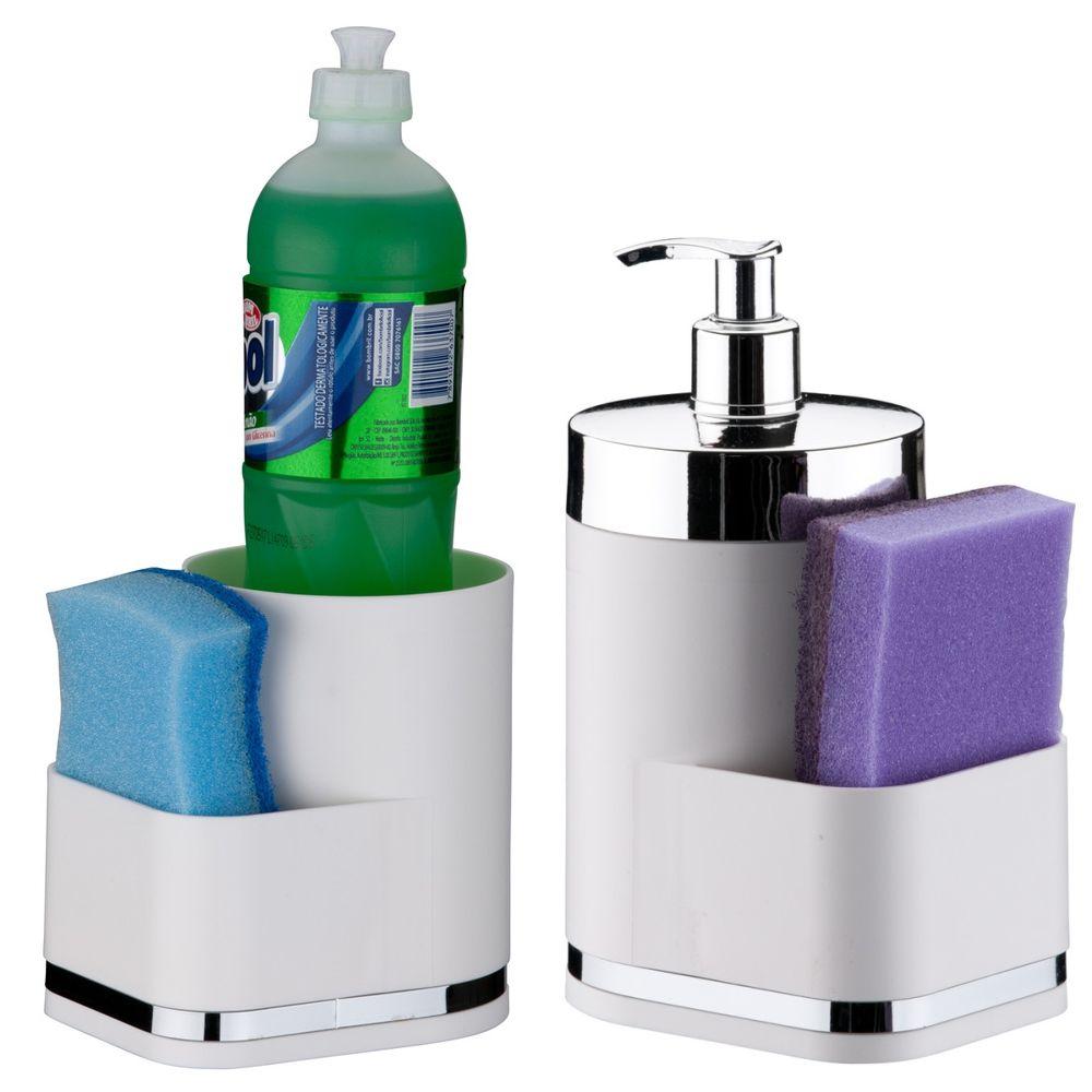 Kit Dispenser P/ Detergente Cozinha Porta Detergente Esponja