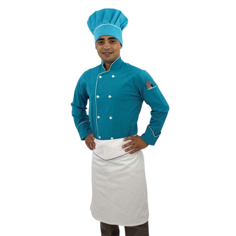 Kit Dólmã Chapéu e Avental Chef de Cozinha Azul Turquesa